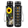 You are my Sunshine Sunflower Bulldog on Black 32 oz Motivational Tracking Water Bottle