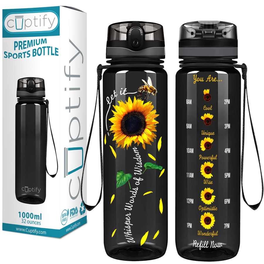 Whisper Words of Wisdom Sunflower on Black 32 oz Motivational Tracking Water Bottle