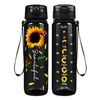 Beautiful Sunflower on Black 32 oz Motivational Tracking Water Bottle