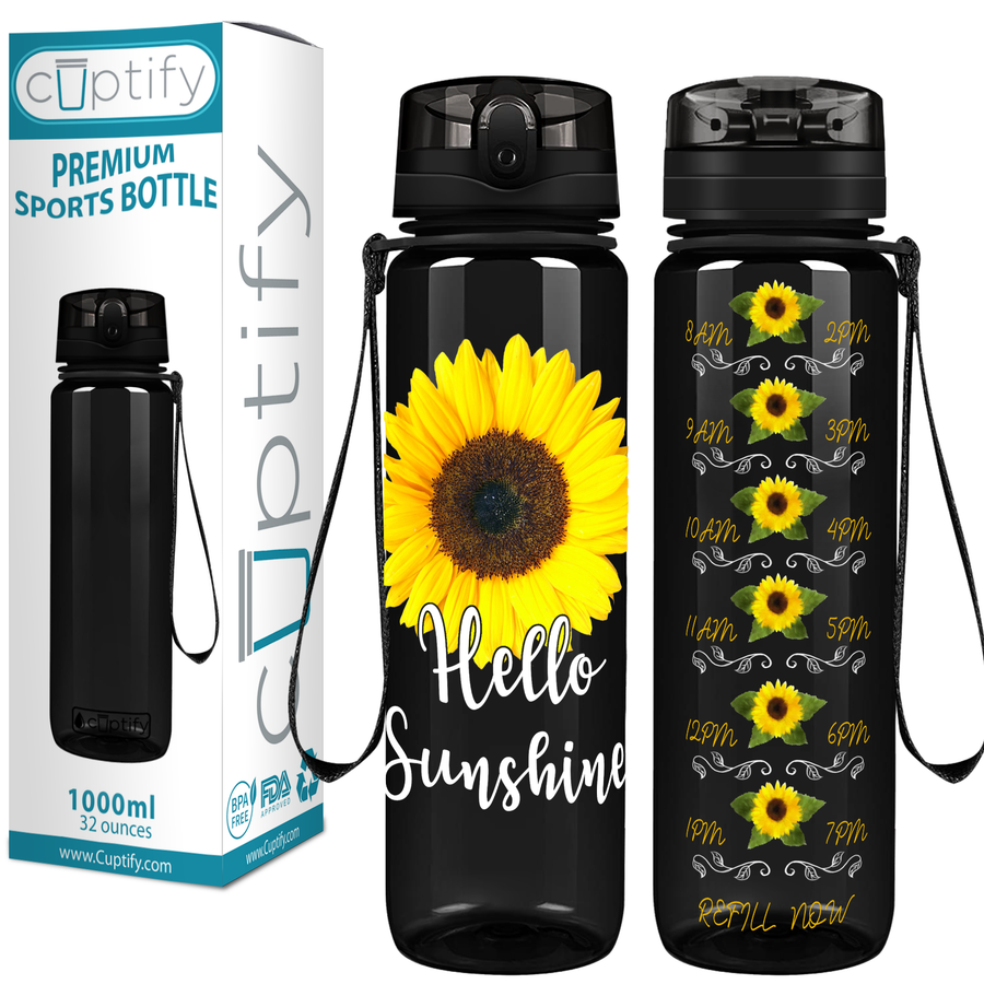 Hello Sunshine Sunflower on Black 32 oz Motivational Tracking Water Bottle
