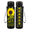 She's Sunshine with a mix of Hurricane on Black 32 oz Motivational Tracking Water Bottle
