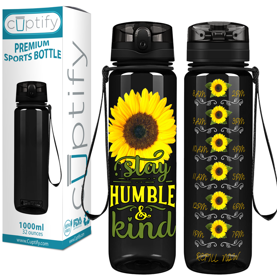 Stay Humble & Kind on Black 32 oz Motivational Tracking Water Bottle