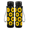 Sunflowers on Black 32 oz Motivational Tracking Water Bottle
