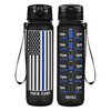 Personalized Police Thin Blue Line Flag on Black Frosted 32 oz Motivational Tracking Water Bottle