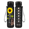 Shepherd Puppy You are my Sunshine on Black Frosted 32 oz Motivational Tracking Water Bottle