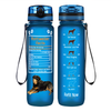 Rottweiler Facts on Blue Frosted 32 oz Motivational Tracking Water Bottle