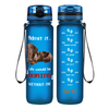 Admit It Life Would be Boring without me Dapple Dachshund on Blue Frosted 32 oz Motivational Tracking Water Bottle