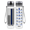 Personalized Police Thin Blue Line Flag on Clear Frosted 32 oz Motivational Tracking Water Bottle