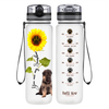 Shepherd Puppy You are my Sunshine on Clear Frosted 32 oz Motivational Tracking Water Bottle