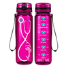 Personalized Nurse Stethoscope Seafoam on Fuschia 32 oz Motivational Tracking Water Bottle
