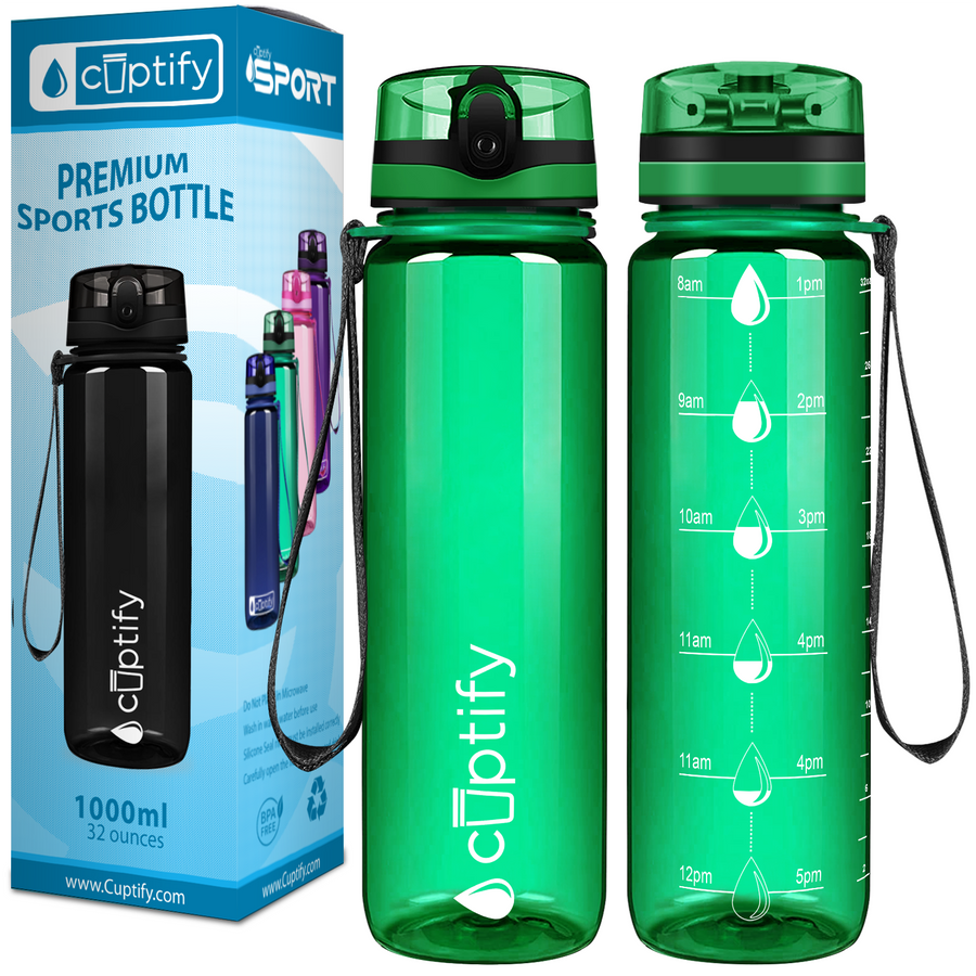 Cuptify Green 32 oz Water Bottle