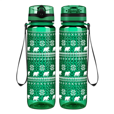 Snowflakes and Polar Bears Sweater on Green 32 oz Motivational Tracking Water Bottle