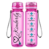 Personalized Nurse on Pink 32 oz Motivational Tracking Water Bottle