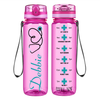 Personalized Nurse Stethoscope on Pink 32 oz Motivational Tracking Water Bottle