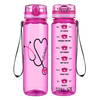 Personalized Pink Stethoscope Nurse Heart on Pink 32 oz Motivational Tracking Water Bottle