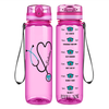 Personalized Green Stethoscope Nurse Heart on Pink 32 oz Motivational Tracking Water Bottle