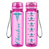 Personalized Caduceus Nurse on Pink 32 oz Motivational Tracking Water Bottle
