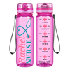 Custom Personalized Nurse on Pink 32 oz Motivational Tracking Water Bottle