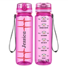 Personalized Heart Beat Pulse on Pink 32 oz Motivational Tracking Water Bottle