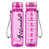 Personalized Nursing Pink Stethoscope on Pink 32 oz Motivational Tracking Water Bottle