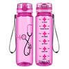 Pink Heart Nursing Stethoscope on Pink 32 oz Motivational Tracking Water Bottle