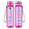 Curled Personalized Nurse Stethoscope on Pink 32 oz Motivational Tracking Water Bottle