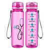Seafoam Heart Nursing Stethoscope on Pink 32 oz Motivational Tracking Water Bottle