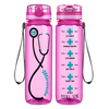 Personalized Heartbeat Nurse Stethoscope on Pink 32 oz Motivational Tracking Water Bottle