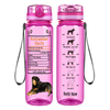 Rottweiler Facts on Pink 32 oz Motivational Tracking Water Bottle