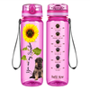 Shepherd Puppy You are my Sunshine on Pink 32 oz Motivational Tracking Water Bottle