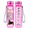 Rottweiler Facts on Pink Frosted 32 oz Motivational Tracking Water Bottle