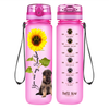 Shepherd Puppy You are my Sunshine on Pink Frosted 32 oz Motivational Tracking Water Bottle