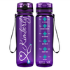 Personalized Nurse Heart on Purple 32 oz Motivational Tracking Water Bottle