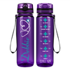 Personalized Nurse Stethoscope on Purple 32 oz Motivational Tracking Water Bottle
