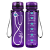 Personalized Nurse Stethoscope Seafoam on Purple 32 oz Motivational Tracking Water Bottle