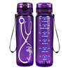 Personalized Nurse Stethoscope Blue on Purple 32 oz Motivational Tracking Water Bottle