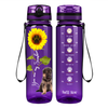Shepherd Puppy You are my Sunshine on Purple 32 oz Motivational Tracking Water Bottle