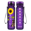 Shepherd Puppy You are my Sunshine on Purple Frosted 32 oz Motivational Tracking Water Bottle