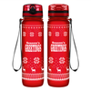 Season Greetings on Red 32 oz Motivational Tracking Water Bottle