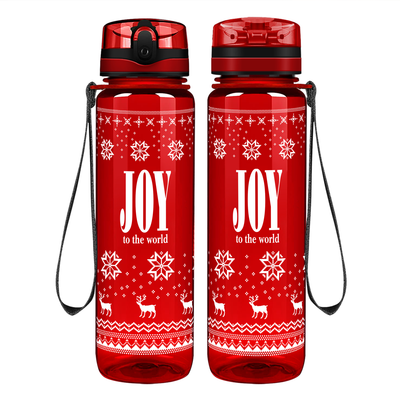 Joy to the World on Red 32 oz Motivational Tracking Water Bottle