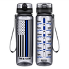 Personalized Police Thin Blue Line Flag on Smoke 32 oz Motivational Tracking Water Bottle