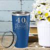40 & Fabulous on Blue 20 oz Stainless Steel Ringneck Tumbler