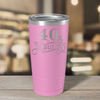 40 & Fabulous on Blush 20 oz Stainless Steel Ringneck Tumbler
