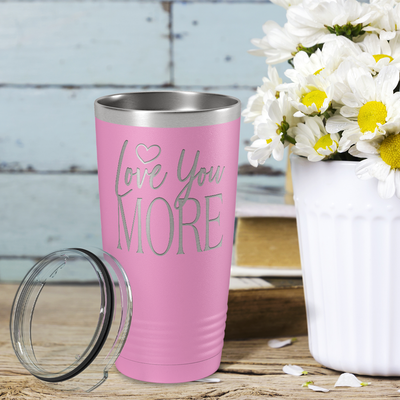 Love You More on Blush 20 oz Stainless Steel Ringneck Tumbler