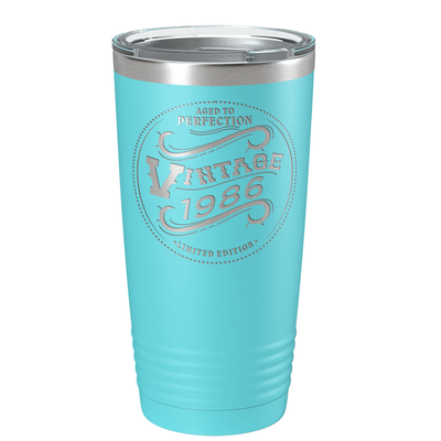 1986 Aged to Perfection Vintage 35th on Lite Blue 20 oz Stainless Steel Ringneck Tumbler