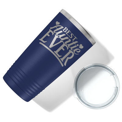 Best Auntie Ever on Navy Blue 20 oz Stainless Steel Ringneck Tumbler