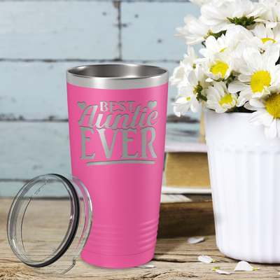 Best Auntie Ever on Pink 20 oz Stainless Steel Ringneck Tumbler