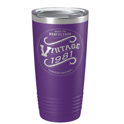 1981 Aged to Perfection Vintage 40th Birthday Laser Engraved 20 oz Vintage Tumbler