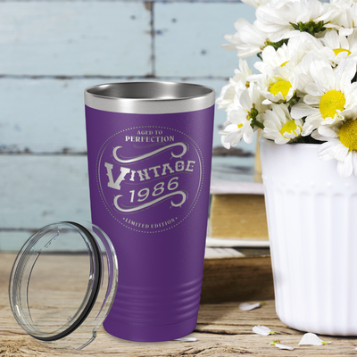 1986 Aged to Perfection Vintage 35th on Purple 20 oz Stainless Steel Ringneck Tumbler