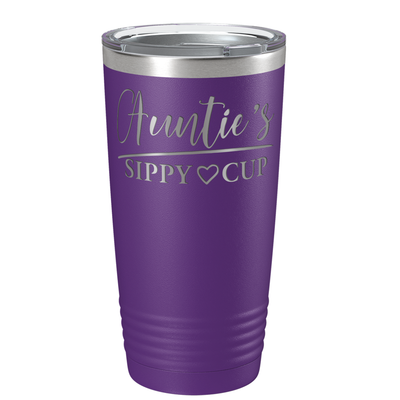 Auntie's Sippy Cup on Purple 20 oz Stainless Steel Ringneck Tumbler